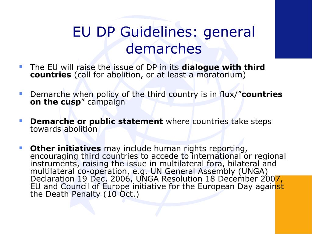 EU DP Guidelines: general demarches