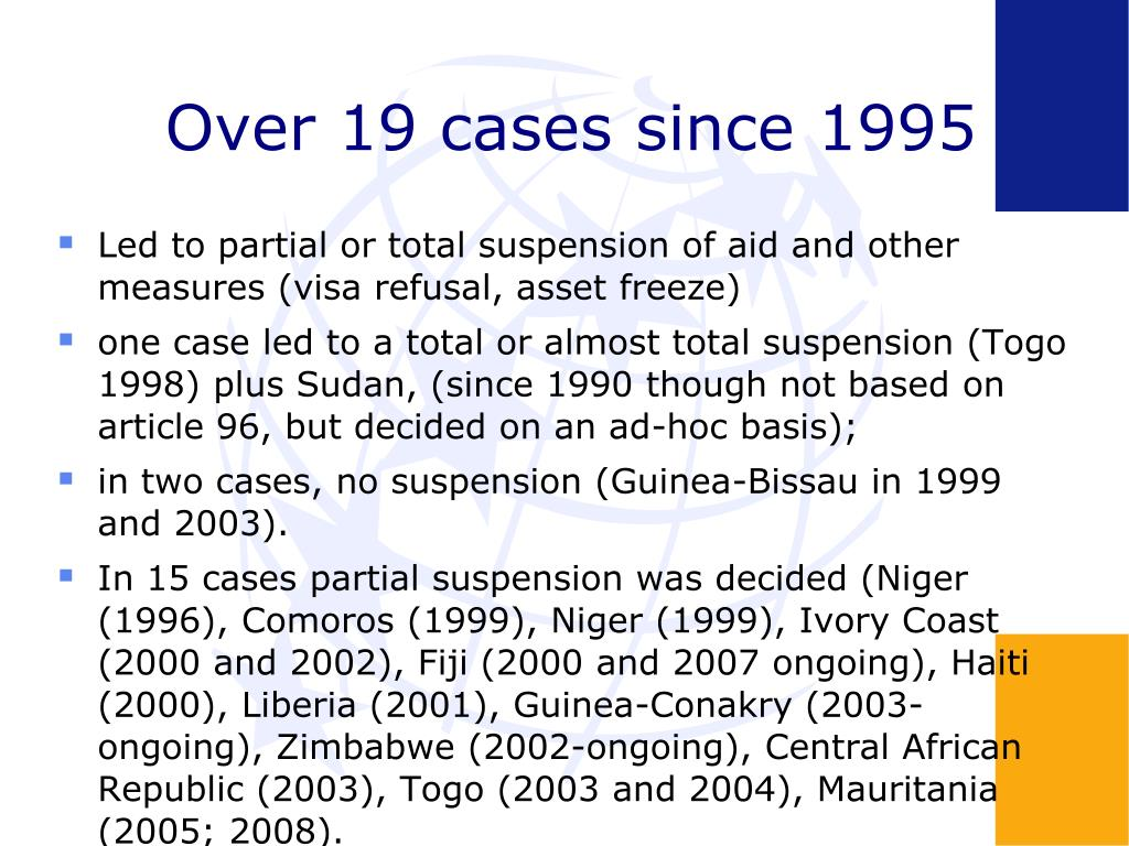 Over 19 cases since 1995