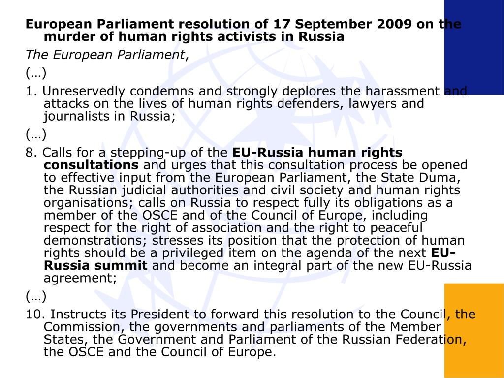 European Parliament resolution of 17 September 2009 on the murder of human rights activists in Russia