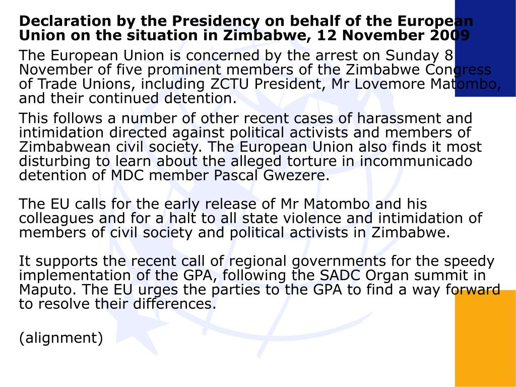 Declaration by the Presidency on behalf of the European Union on the situation in Zimbabwe, 12 November 2009