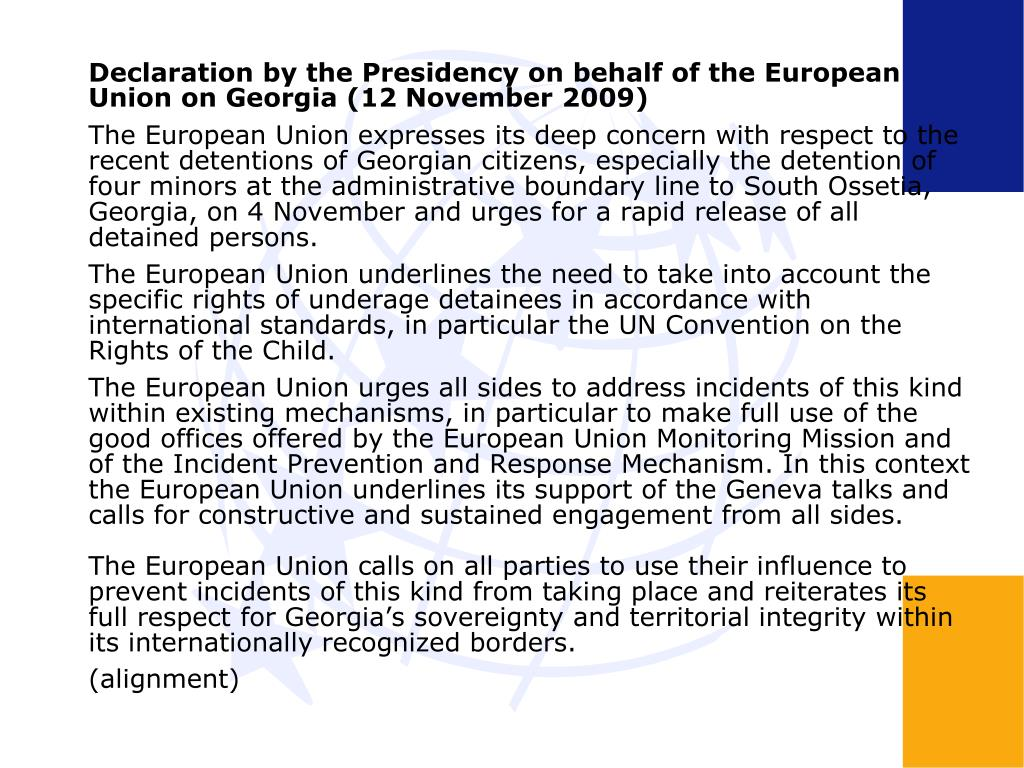 Declaration by the Presidency on behalf of the European Union on Georgia (12 November 2009)