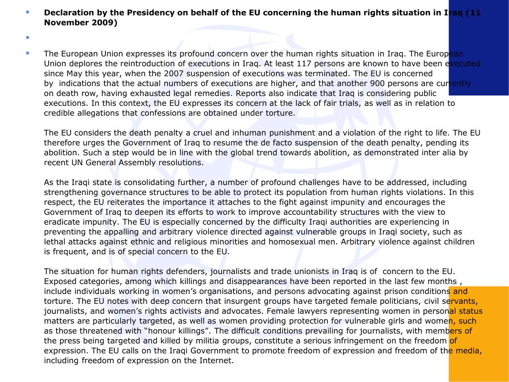 Declaration by the Presidency on behalf of the EU concerning the human rights situation in Iraq (11 November 2009)