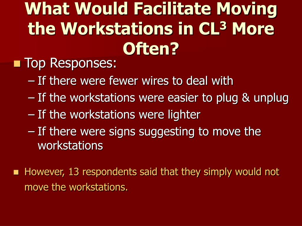 What Would Facilitate Moving the Workstations in CL