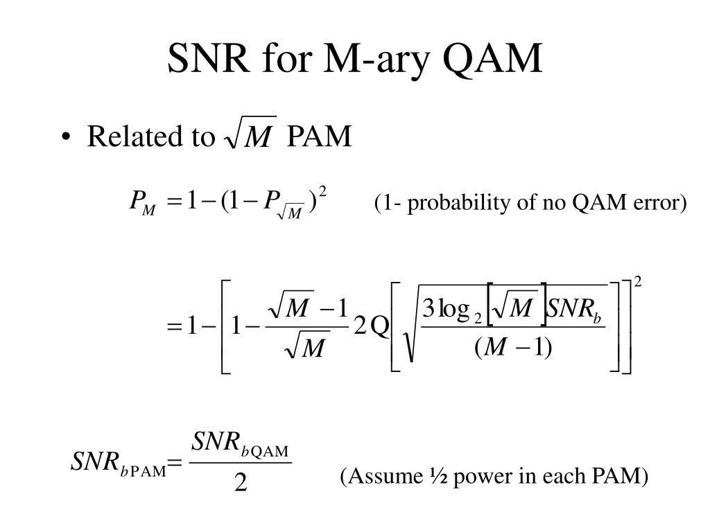 SNR for M-ary QAM