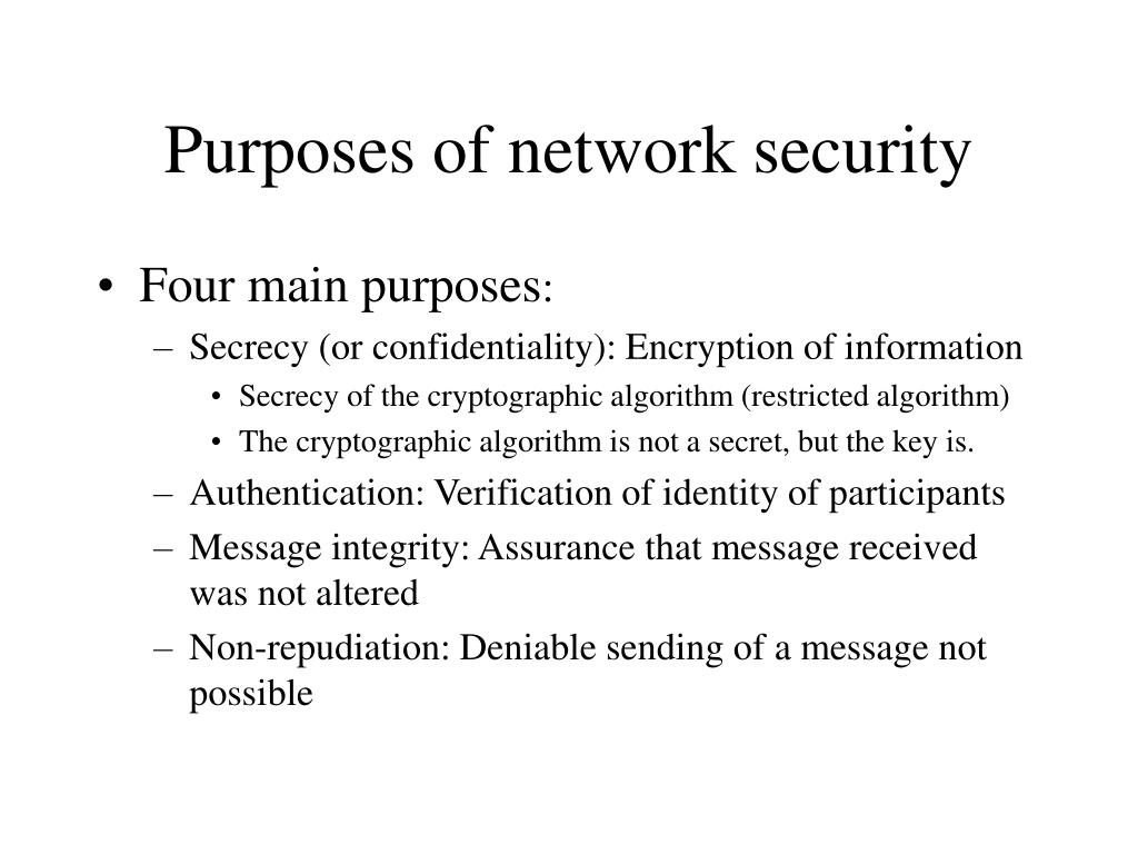 Purposes of network security