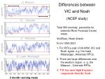 differences between vic and noah ncep study