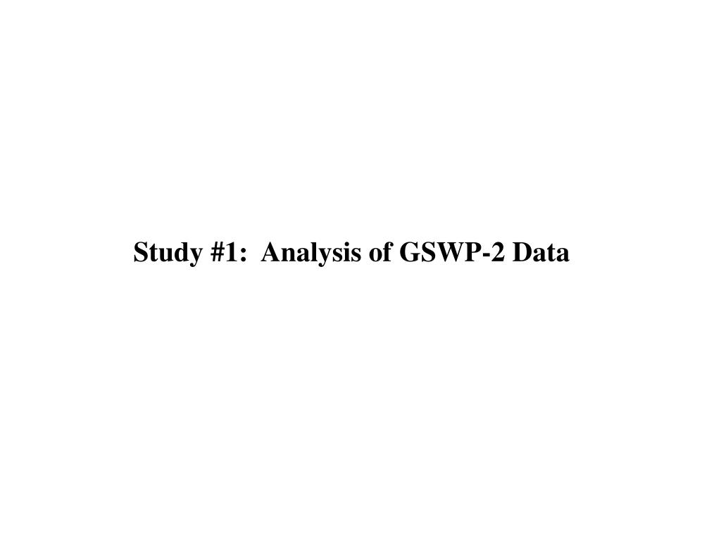 Study #1:  Analysis of GSWP-2 Data