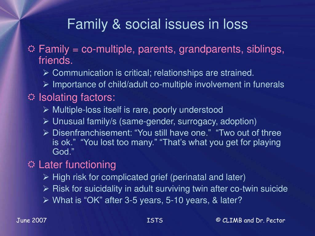 Family & social issues in loss