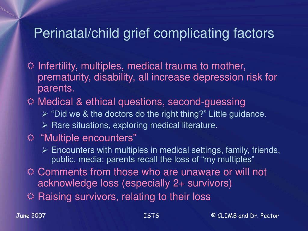 Perinatal/child grief complicating factors