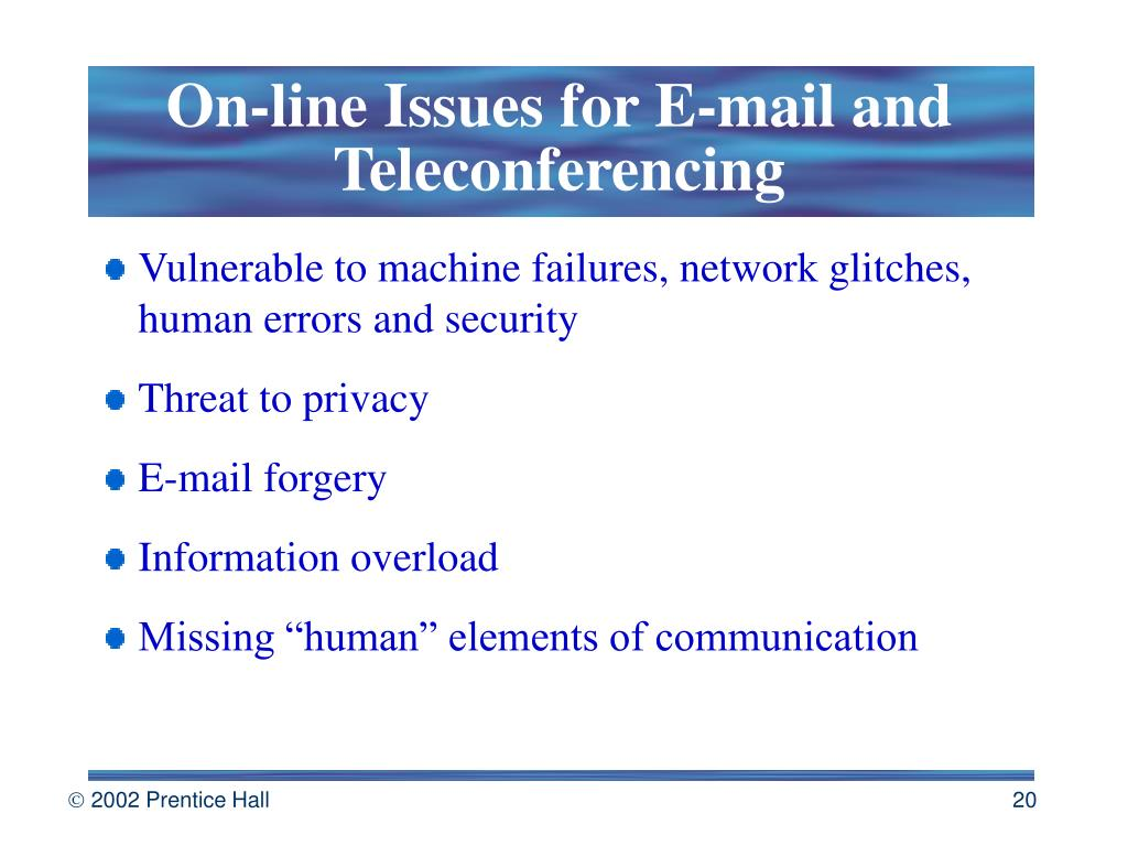 On-line Issues for E-mail and Teleconferencing