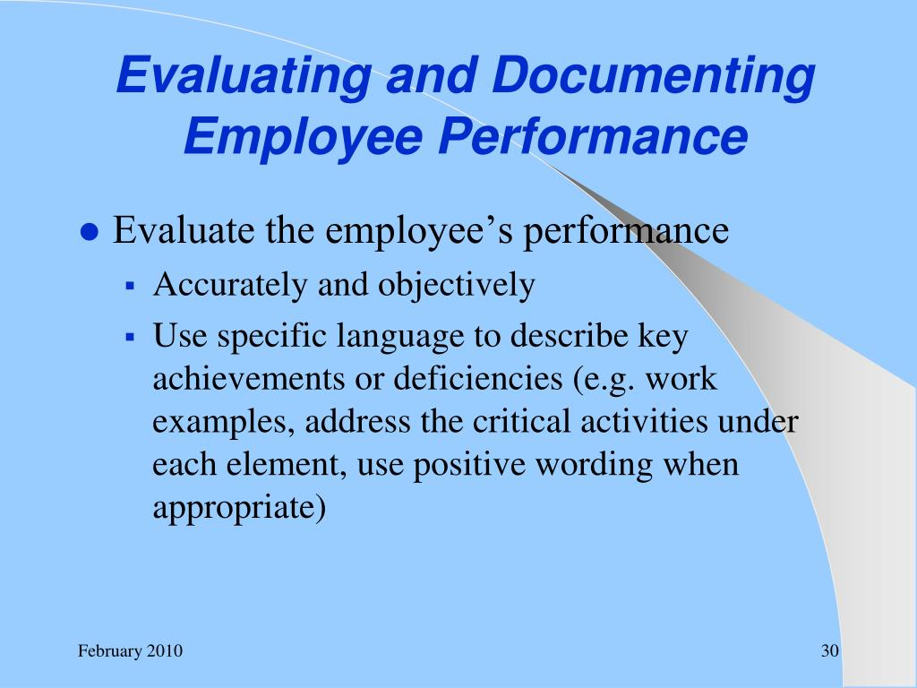 Evaluating and Documenting Employee Performance