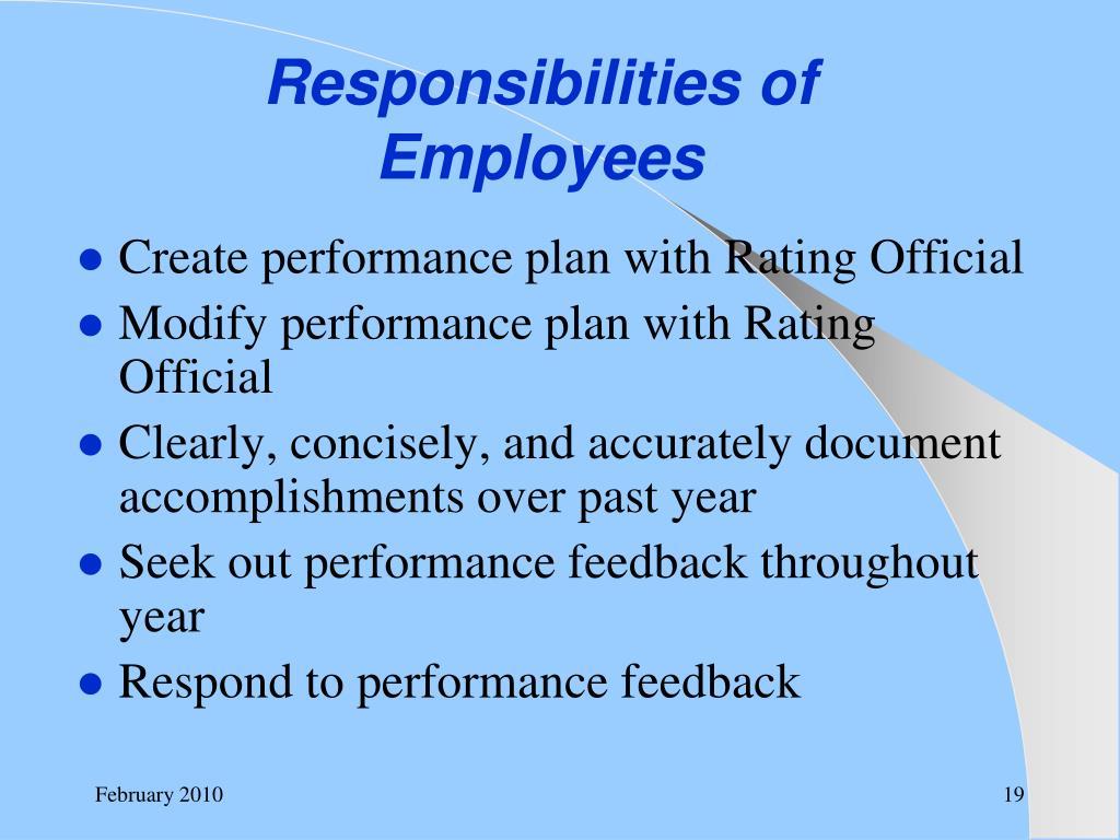 Responsibilities of Employees