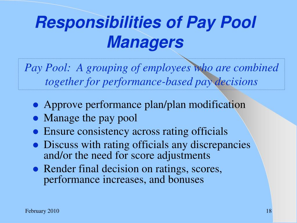 Responsibilities of Pay Pool Managers