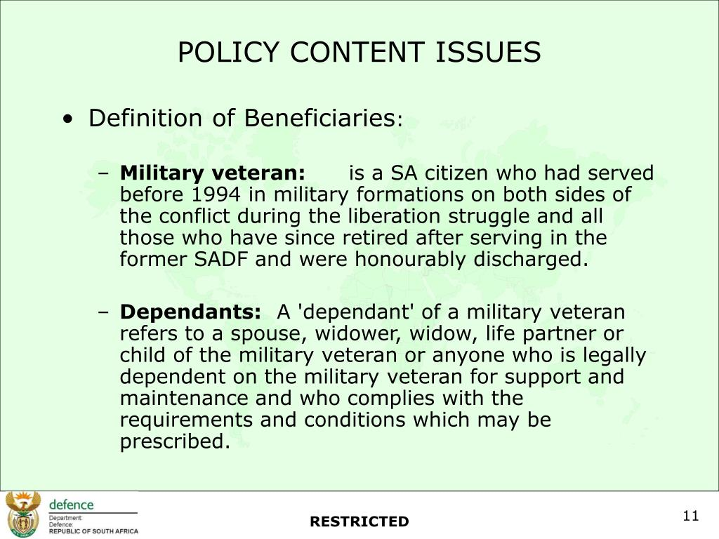 POLICY CONTENT ISSUES