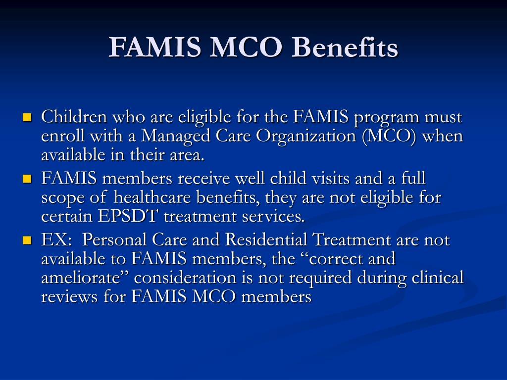 FAMIS MCO Benefits