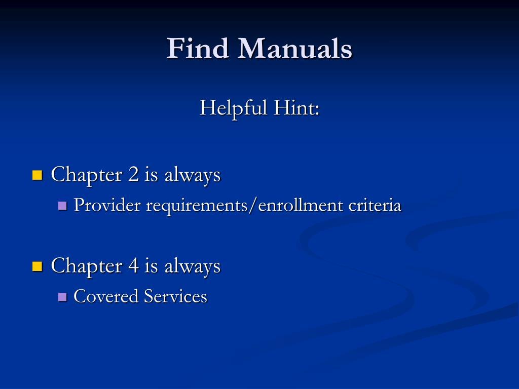 Find Manuals