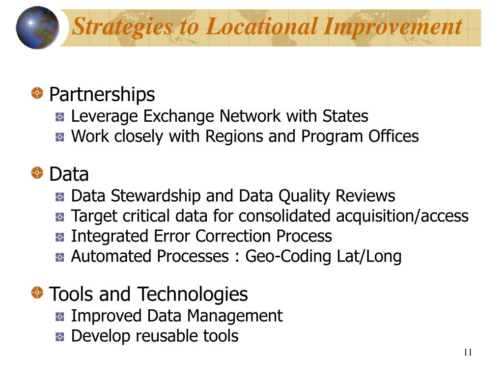 Strategies to Locational Improvement
