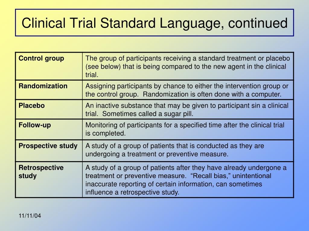 Clinical Trial Standard Language, continued