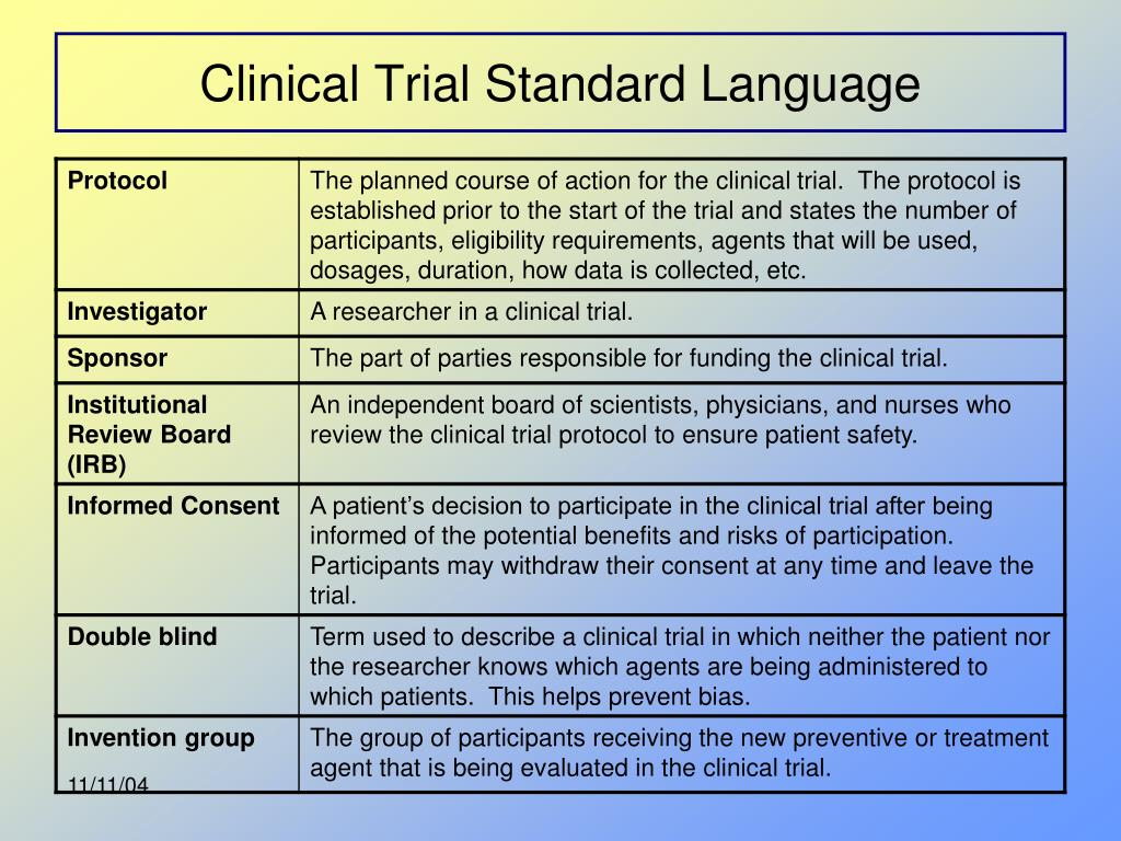 Clinical Trial Standard Language