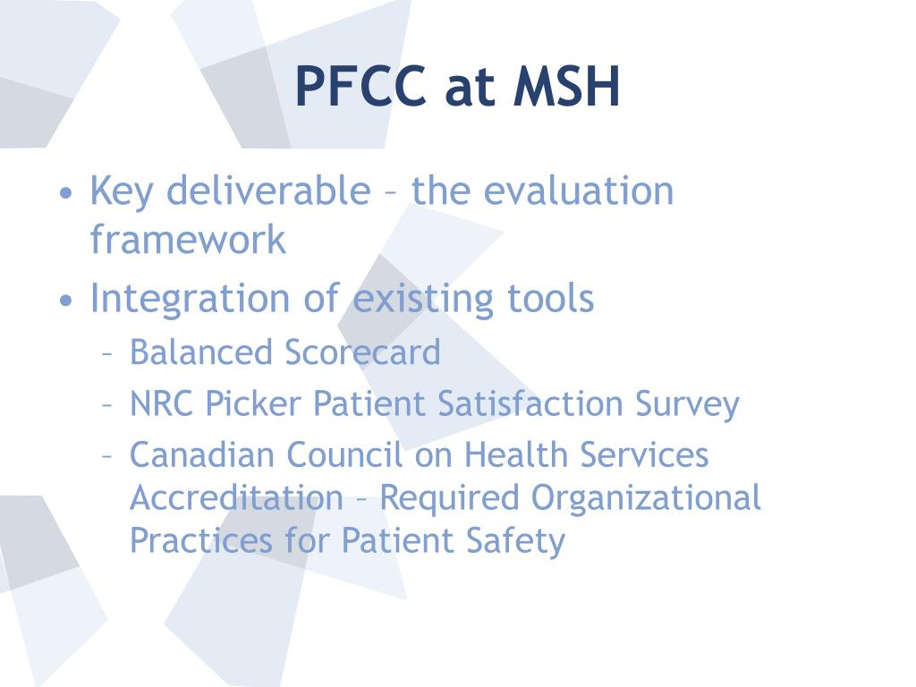 PFCC at MSH