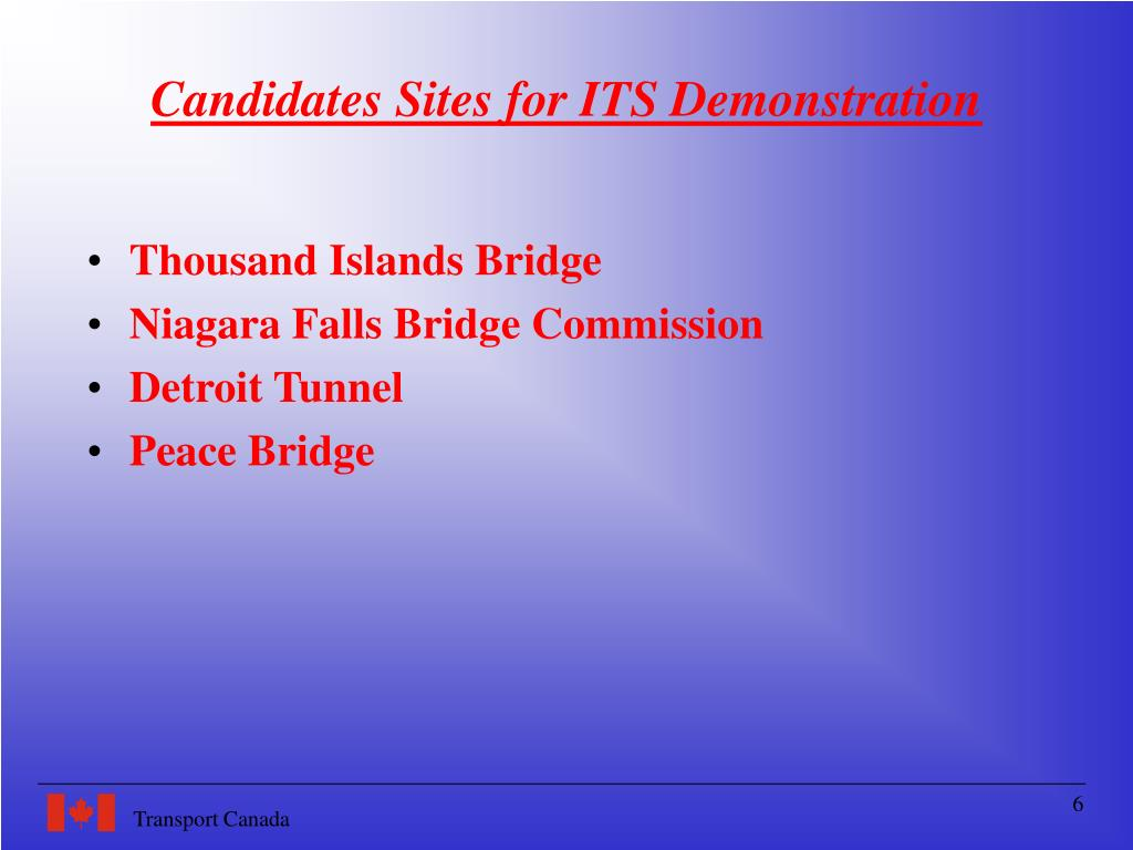 Candidates Sites for ITS Demonstration