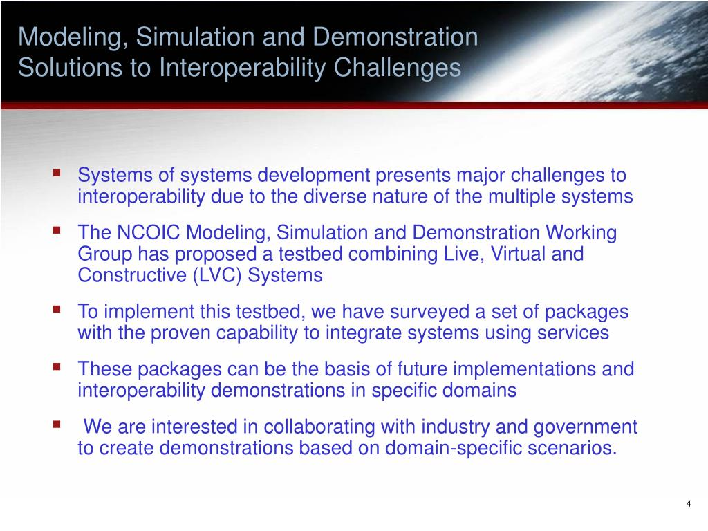 Modeling, Simulation and Demonstration     Solutions to Interoperability Challenges