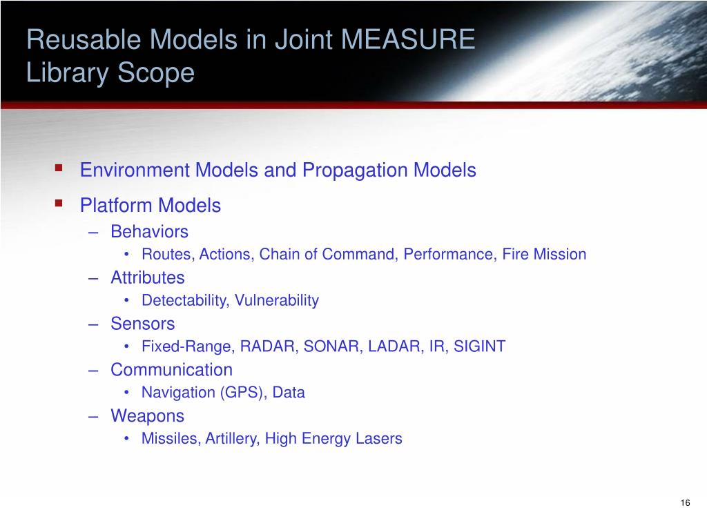 Reusable Models in Joint MEASURE