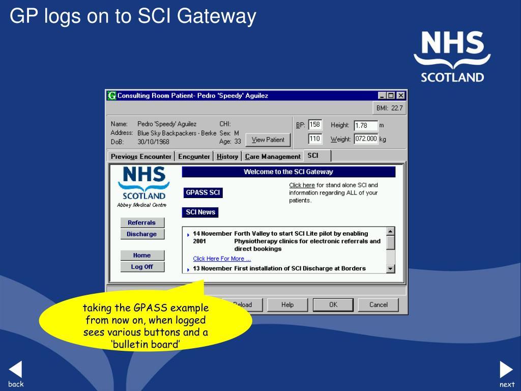 GP logs on to SCI Gateway