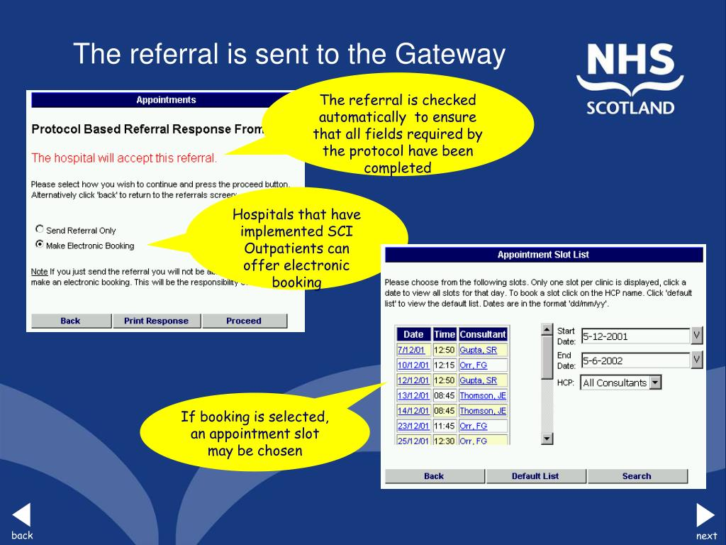 The referral is sent to the Gateway