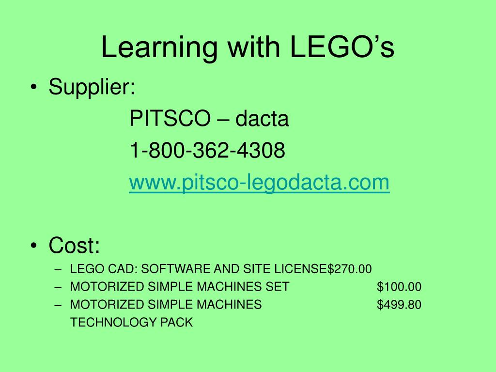 Learning with LEGO's