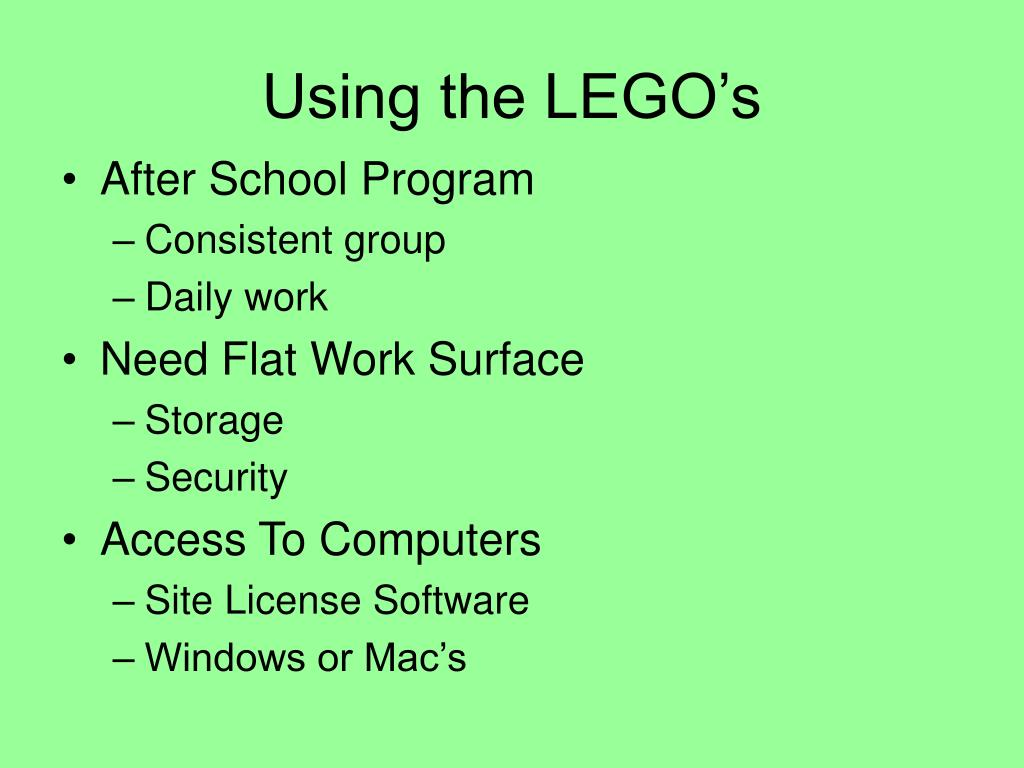 Using the LEGO's