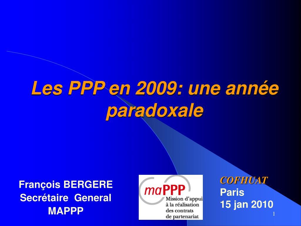 Les PPP en 2009: une année paradoxale
