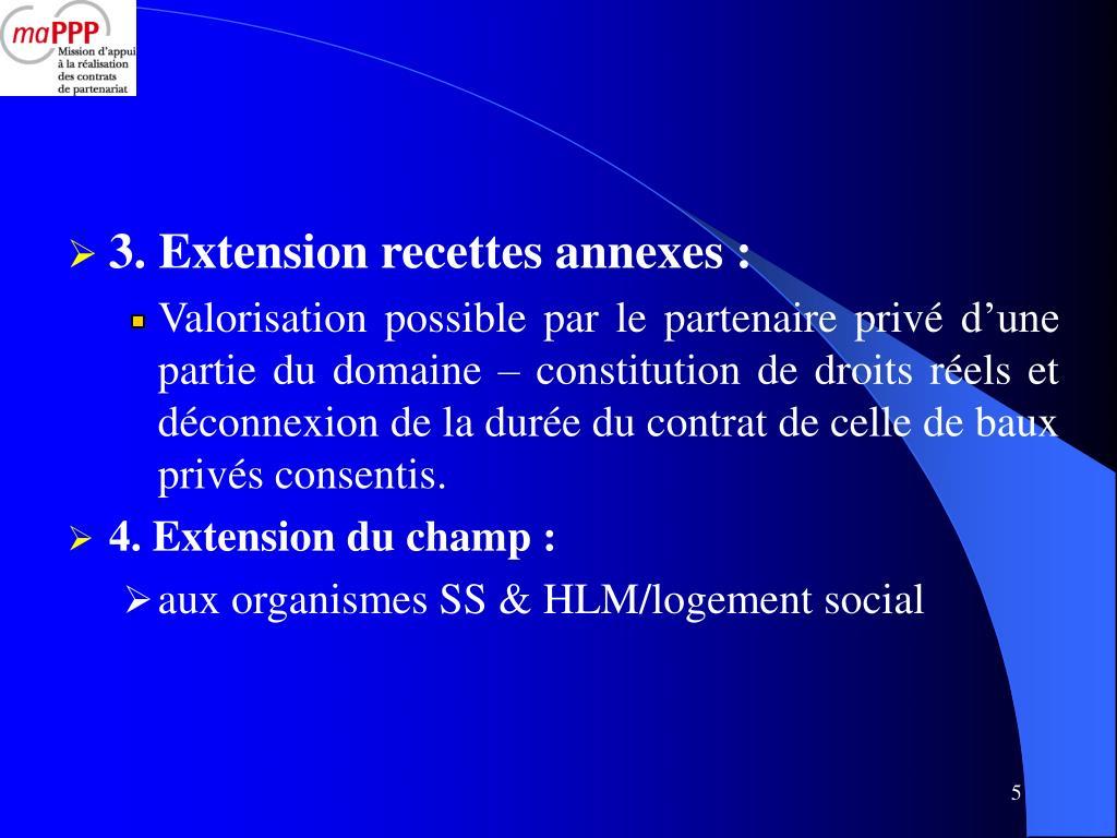3. Extension recettes annexes :
