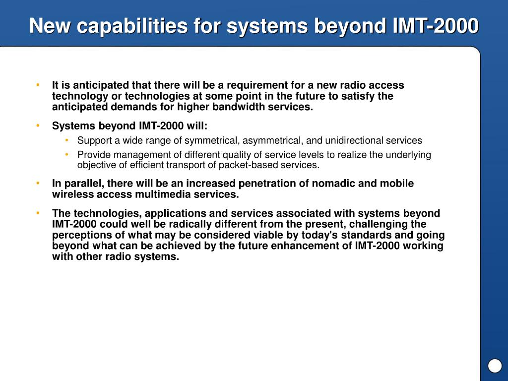 New capabilities for systems beyond IMT-2000