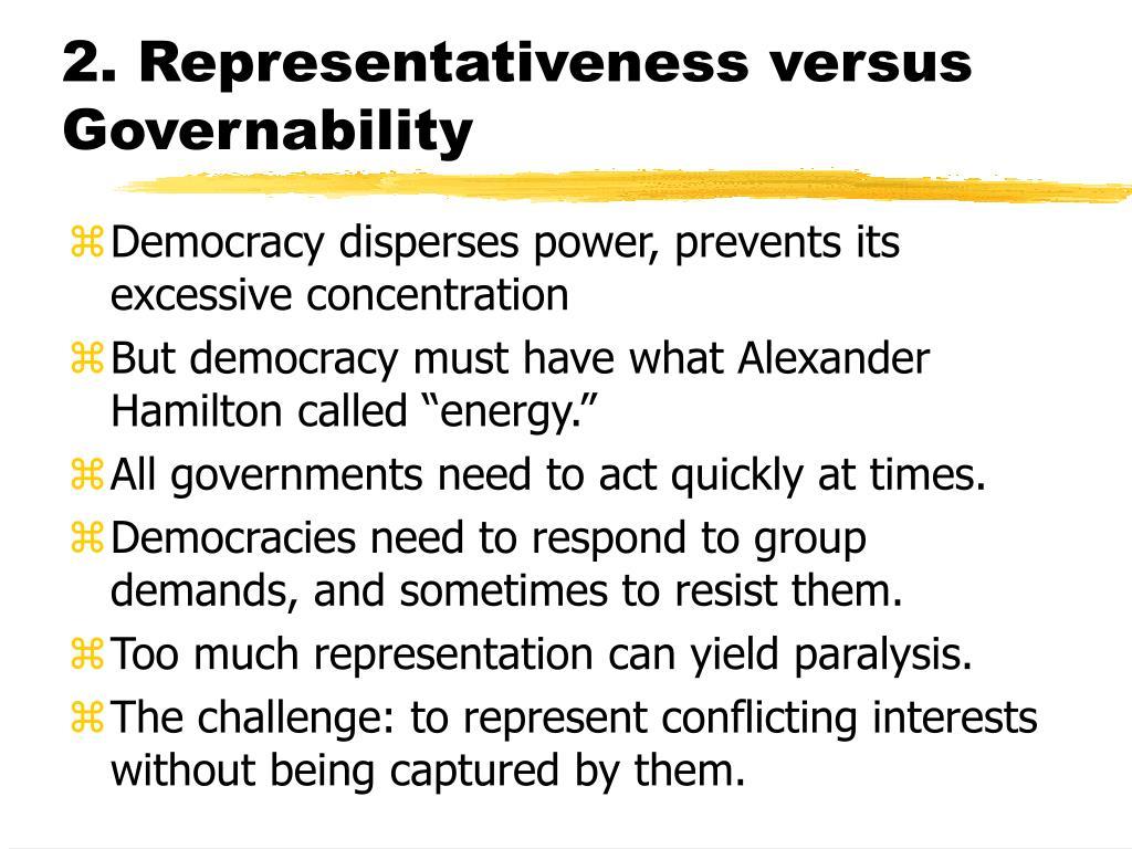 2. Representativeness versus Governability