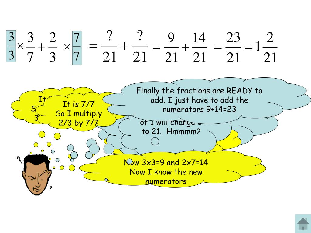 Finally the fractions are READY to add. I just have to add the numerators 9+14=23