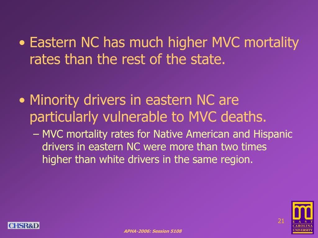 Eastern NC has much higher MVC mortality rates than the rest of the state.
