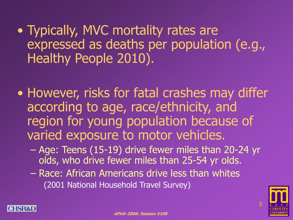 Typically, MVC mortality rates are expressed as deaths per population (e.g., Healthy People 2010).