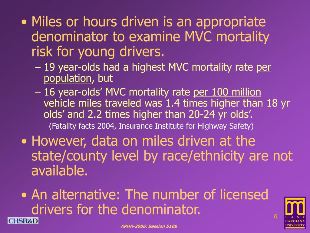 Miles or hours driven is an appropriate denominator to examine MVC mortality risk for young drivers.