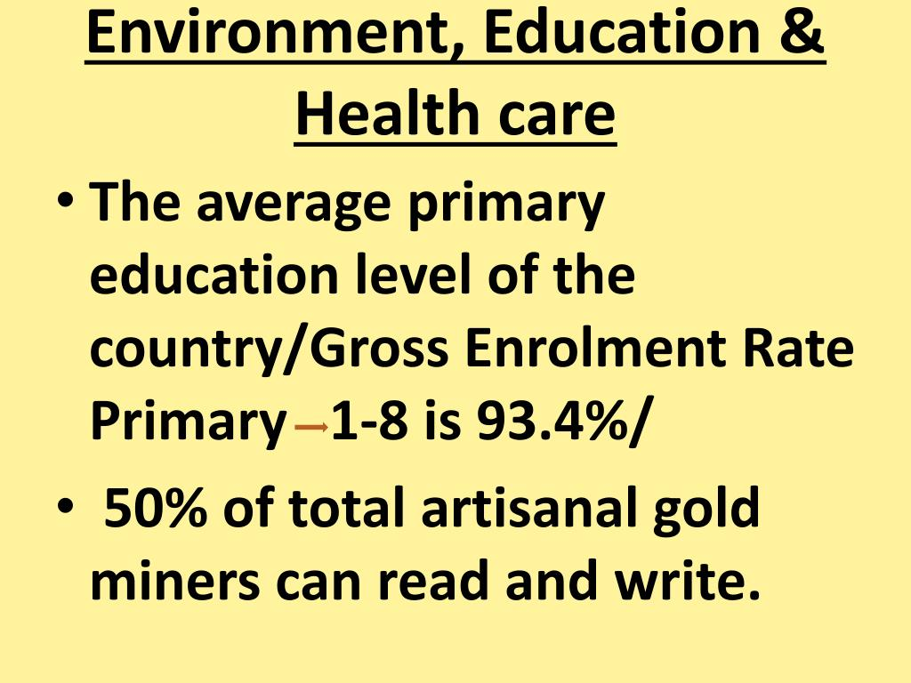 Environment, Education & Health care