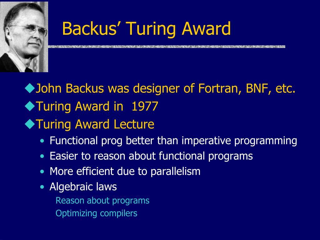 Backus' Turing Award