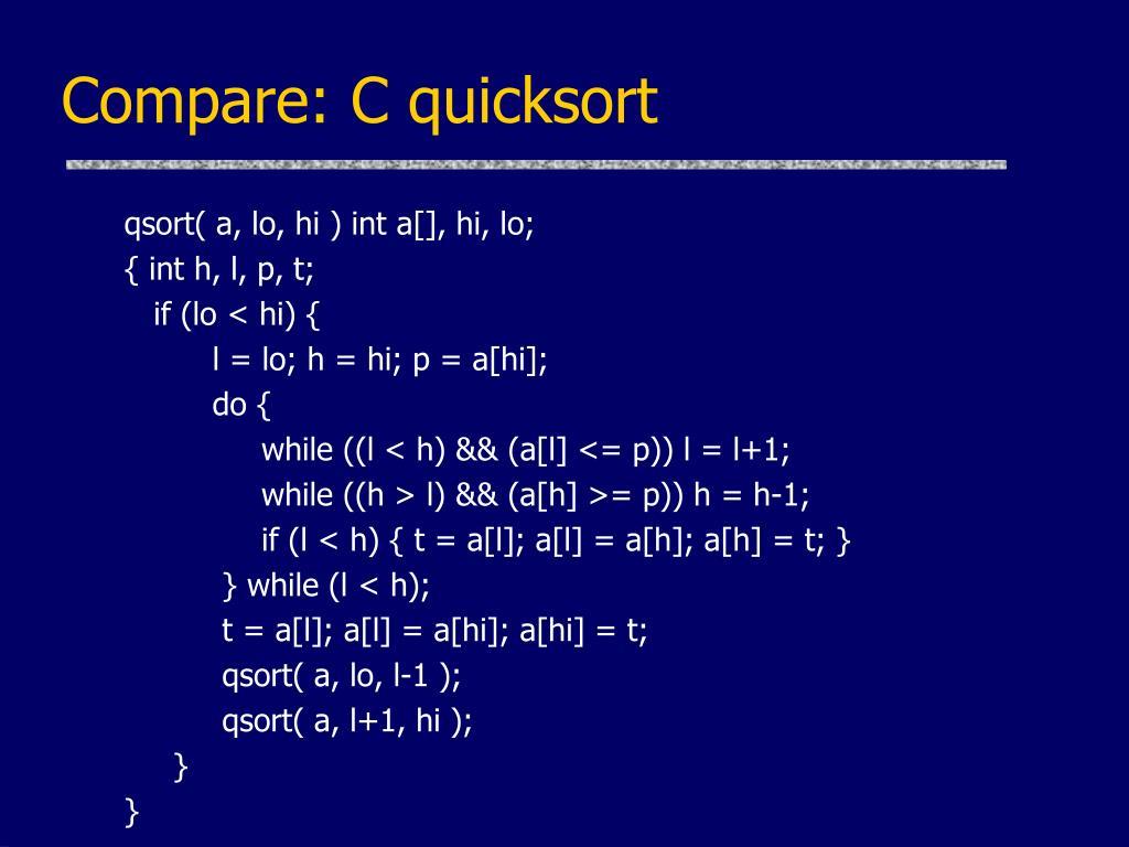 Compare: C quicksort