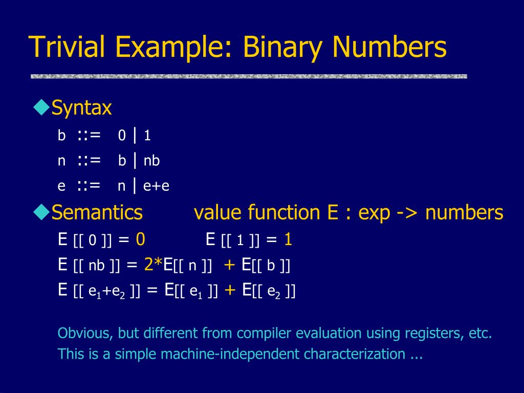 Trivial Example: Binary Numbers