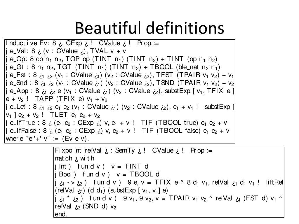 Beautiful definitions