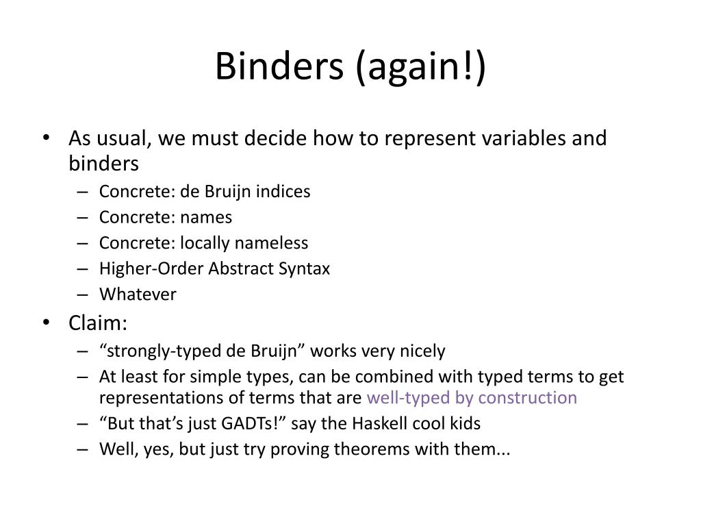 Binders (again!)