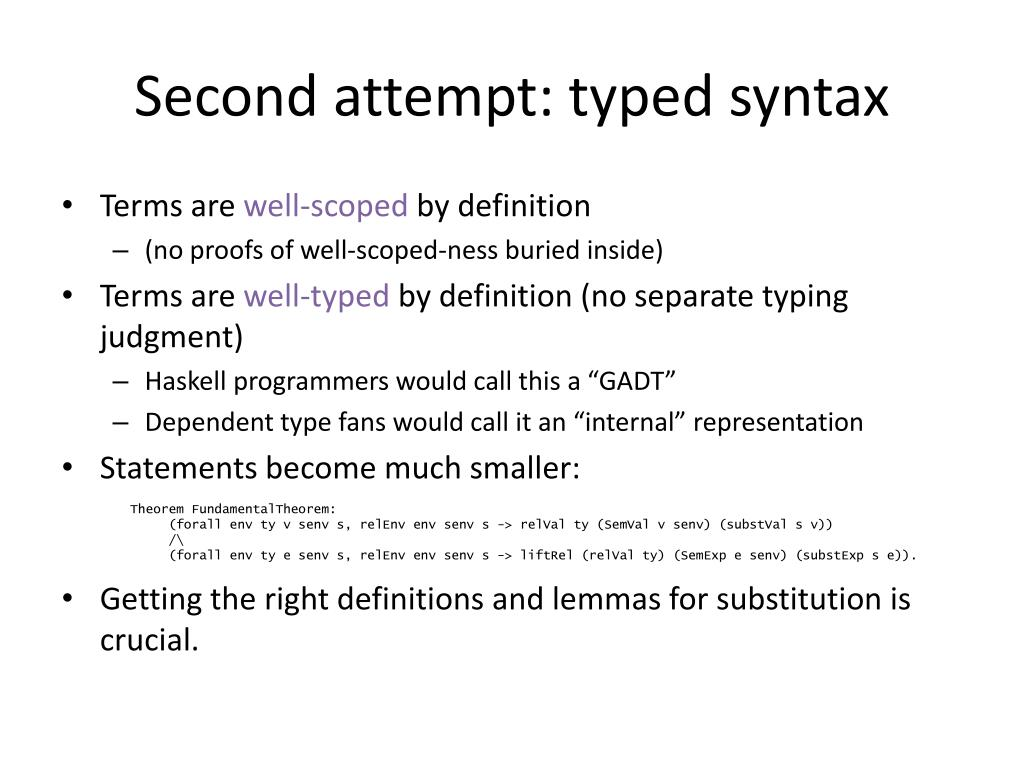 Second attempt: typed syntax