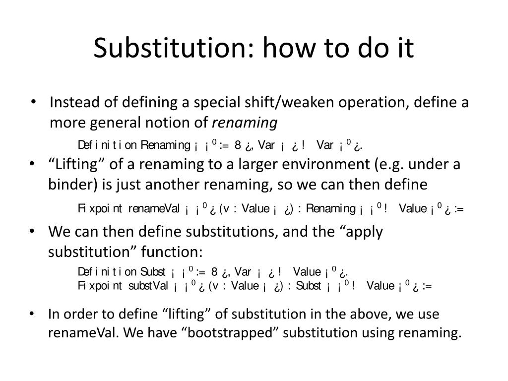 Substitution: how to do it