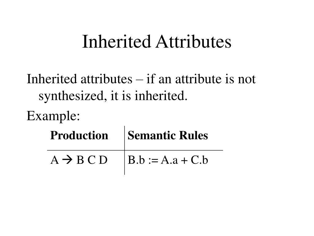 Inherited Attributes