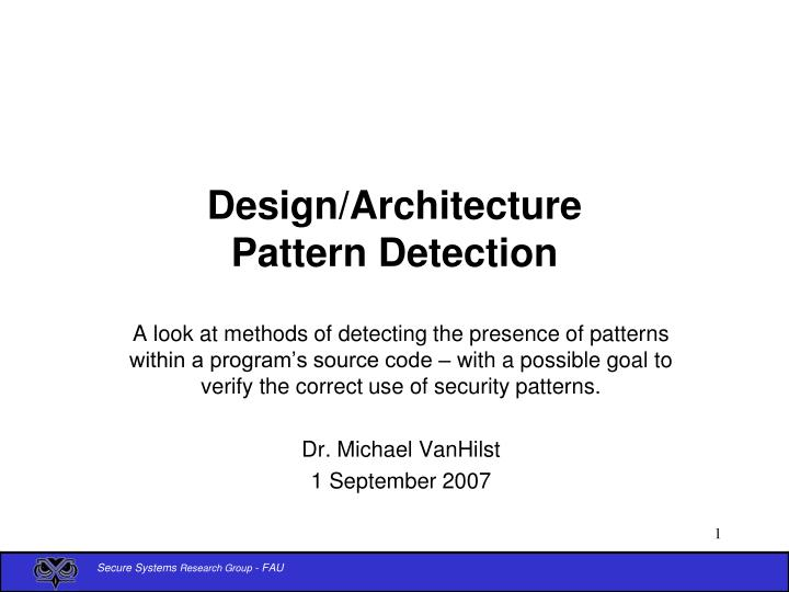 Design architecture pattern detection