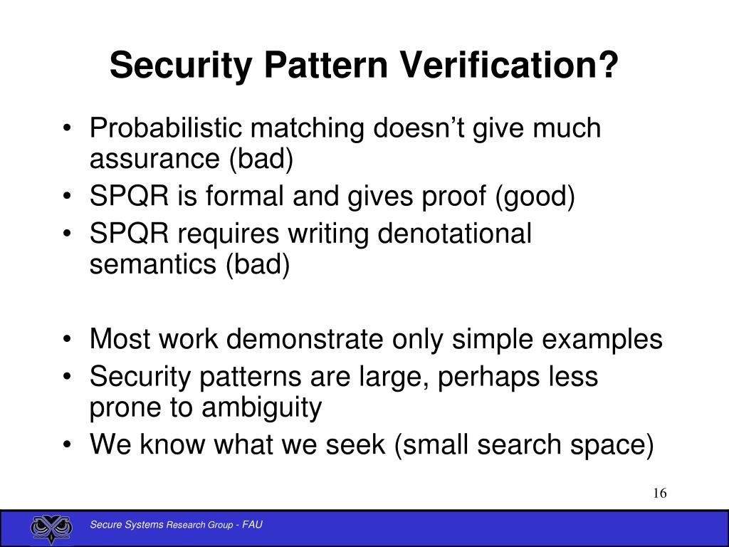 Security Pattern Verification?